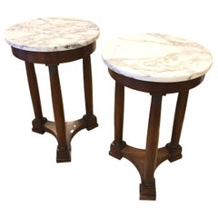 Pair of French Marble-Top Side Tables