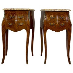 Pair of French Marquetry and Ormolu Mounted Nightstands