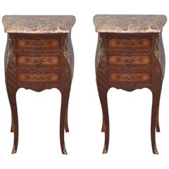Pair of French Marquetry Nightstands with Three Drawers and Bronze Hardware