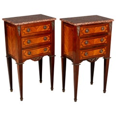 Pair of French Marquetry Side Tables or Nightstands