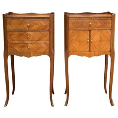 Pair of French Marquetry Walnut Bedside Matching Tables with Drawers and Door