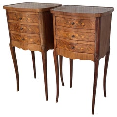 Pair of French Marquetry Walnut Bedside Matching Tables with Drawers