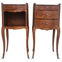Pair of French Marquetry Walnut Bedside Tables with Drawers and Open Shelf
