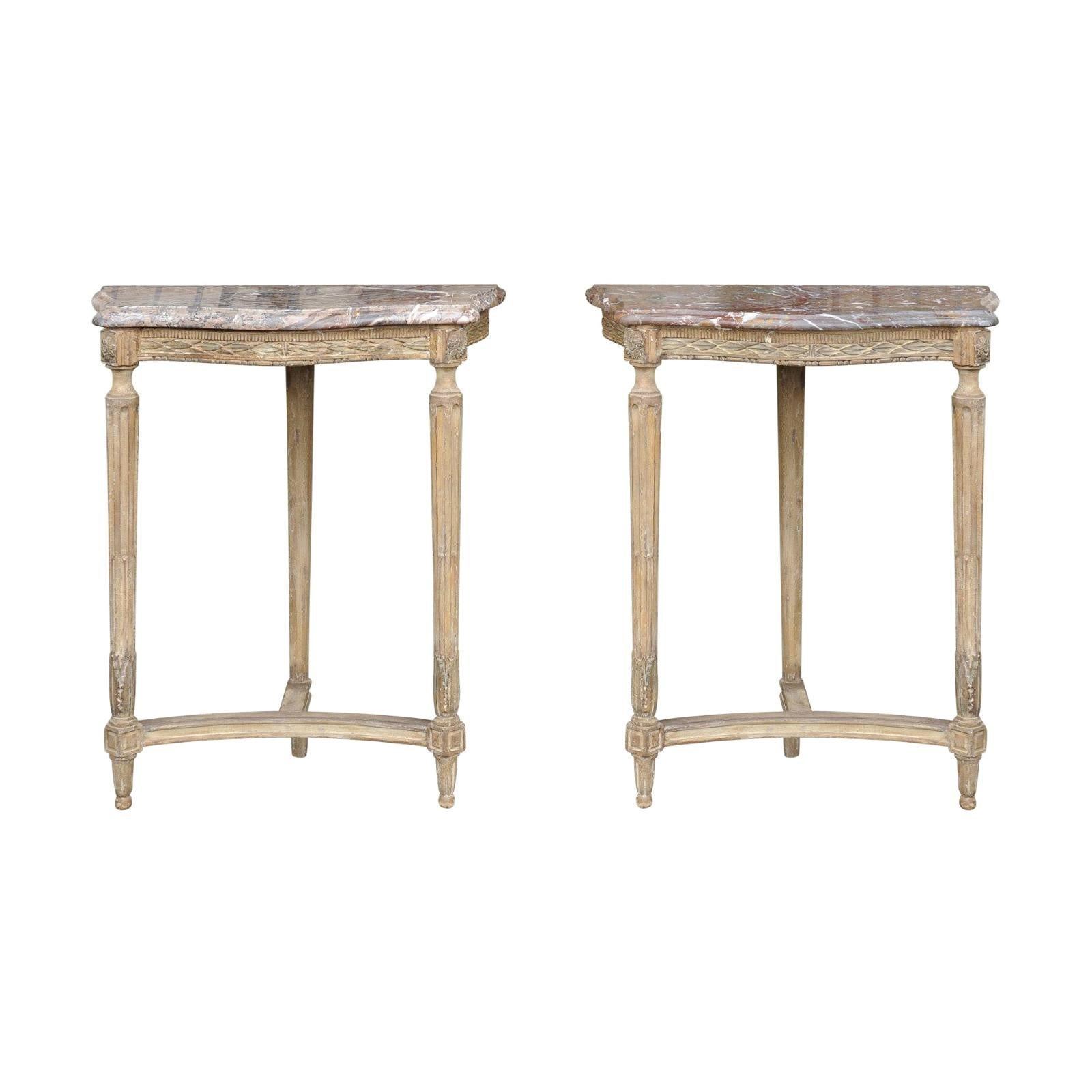 Pair of French Matching Neoclassical Painted Console Tables with Marble Tops
