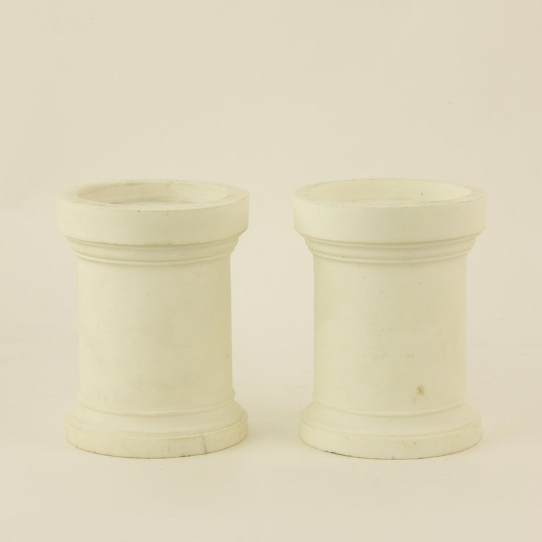 Pair of French Mid-18th Century Biscuit Porcelain Louis XV Vases and Pedestals For Sale 9