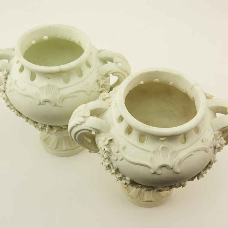 Pair of French Mid-18th Century Biscuit Porcelain Louis XV Vases and Pedestals For Sale 11
