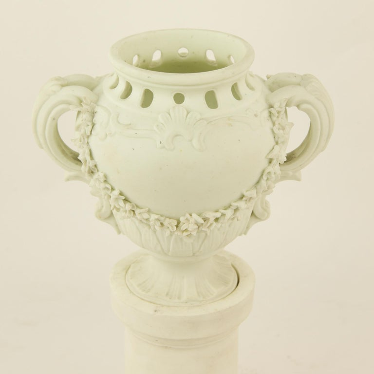 Pair of French Mid-18th Century Biscuit Porcelain Louis XV Vases and Pedestals For Sale 1