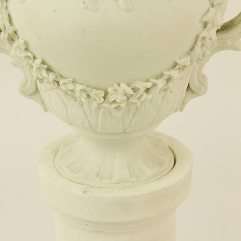 Pair of French Mid-18th Century Biscuit Porcelain Louis XV Vases and Pedestals For Sale 2