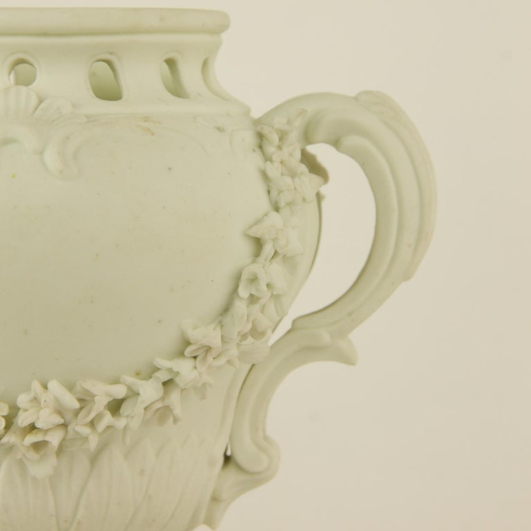 Pair of French Mid-18th Century Biscuit Porcelain Louis XV Vases and Pedestals For Sale 3