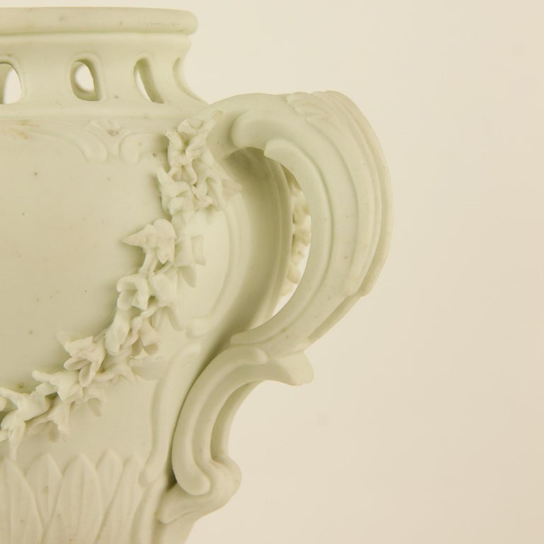 Pair of French Mid-18th Century Biscuit Porcelain Louis XV Vases and Pedestals For Sale 4