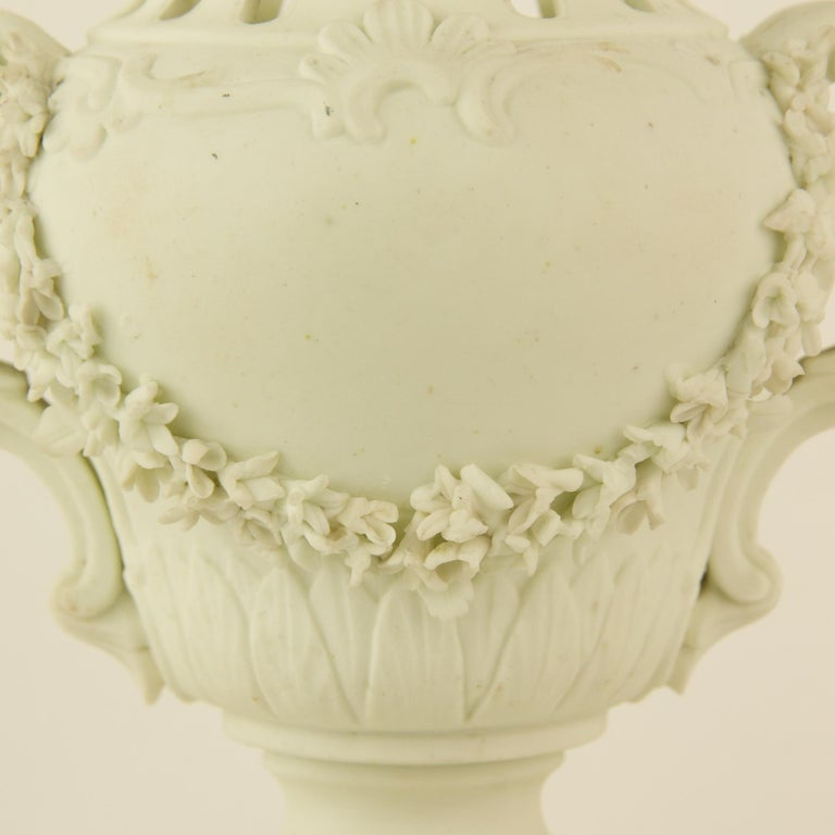 Pair of French Mid-18th Century Biscuit Porcelain Louis XV Vases and Pedestals For Sale 5