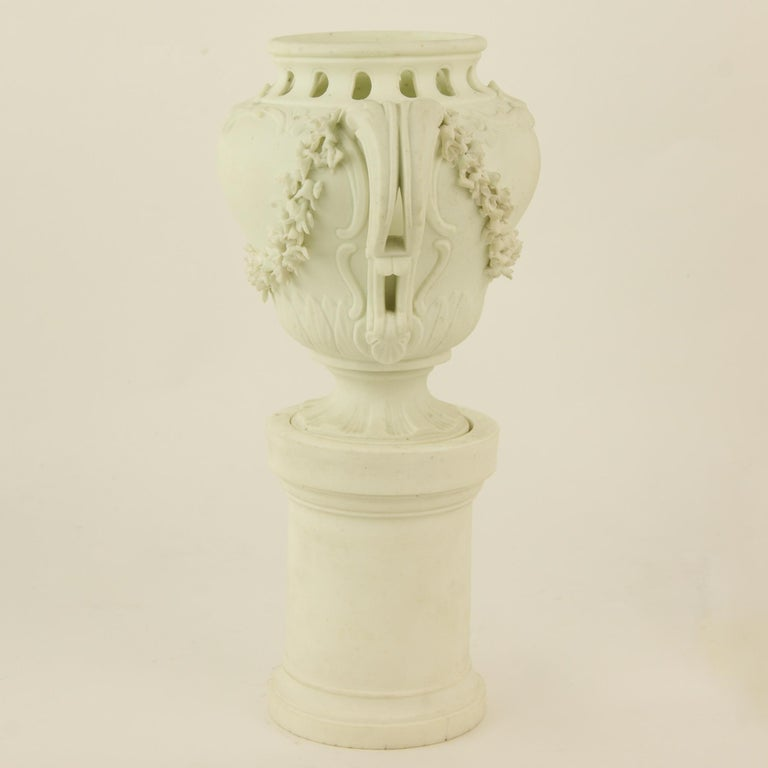 Pair of French Mid-18th Century Biscuit Porcelain Louis XV Vases and Pedestals For Sale 6