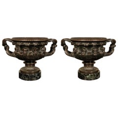 Pair of French Mid-19th Century Bronze and Marble Tazzas