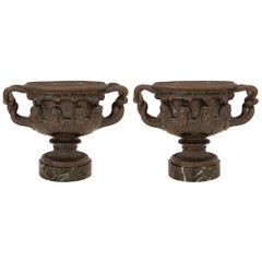 Pair of French Mid-19th Century Bronze and Marble Tazzas Signed F. Barbedienne