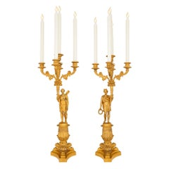 Pair of French Mid 19th Century Charles X Period Ormolu Candelabras