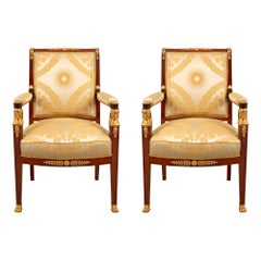 Pair of French Mid-19th Century Empire St. Mahogany and Ormolu Mounted Armchairs