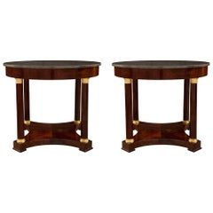 Pair of French Mid-19th Century Empire Style Ormolu and Mahogany Side Tables