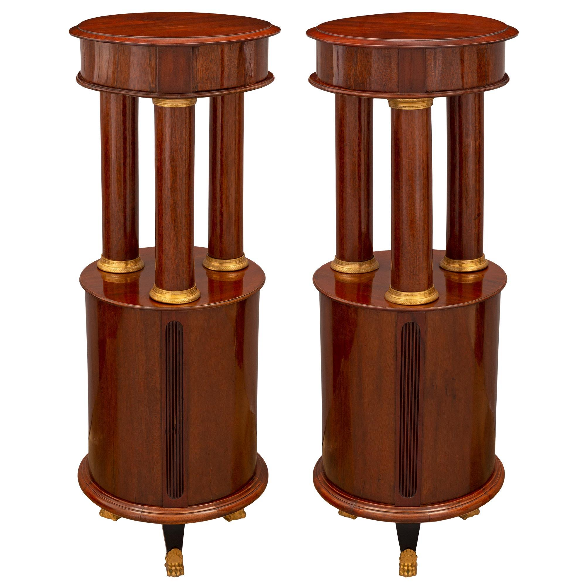 Pair of French Mid-19th Century Empire Style Mounted Pedestals