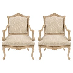 Pair of French Mid 19th Century Louis XV St. Patinated Off White Armchairs