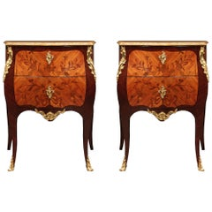 Pair of French Mid-19th Century Louis XV Style Tulipwood and Kingwood Commodes