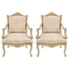 Pair of French Mid-19th Century Louis XV Style Patinated Off-White Armchairs