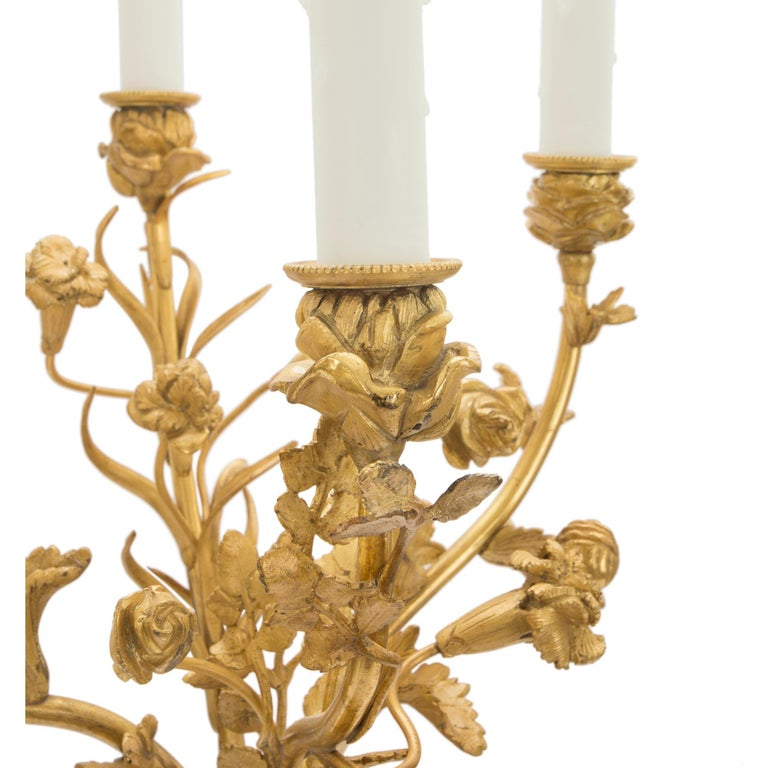 Pair of French Mid-19th Century Louis XVI Style Carrara Marble and Ormolu Lamps In Excellent Condition For Sale In West Palm Beach, FL