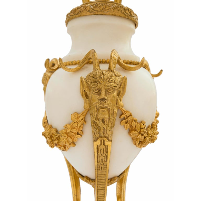 Pair of French Mid-19th Century Louis XVI Style Carrara Marble and Ormolu Lamps For Sale 2
