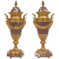 Pair of French Mid-19th Century Louis XVI Style Marble and Ormolu Cassolettes