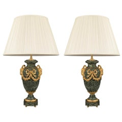 Pair of French Mid-19th Century Louis XVI Style Marble and Ormolu Lamps