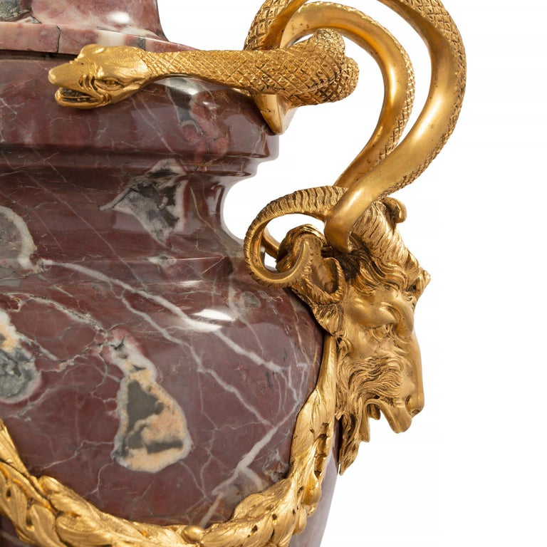Pair of French Mid-19th Century Louis XVI Style Marble and Ormolu Lidded Urns For Sale 2