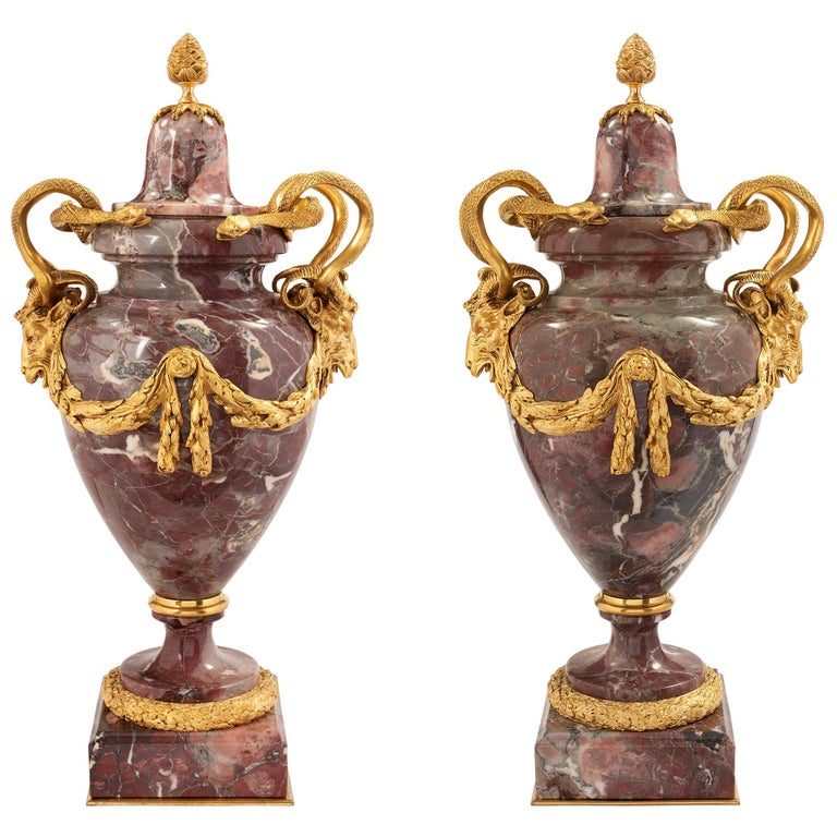 Pair of French Mid-19th Century Louis XVI Style Marble and Ormolu Lidded Urns For Sale