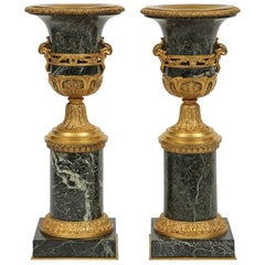 Pair of French Mid-19th Century Louis XVI St. Marble and Ormolu Vases