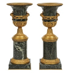 Pair of French Mid-19th Century Louis XVI Style Marble and Ormolu Vases