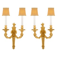 Pair of French Mid-19th Century Louis XVI Style Ormolu Sconces
