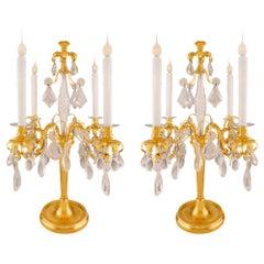 Pair of French Mid-19th Century Louis XVI Style Four-Arm Girandole Lamps