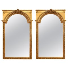 Pair of French Mid-19th Century Louis XVI Style Giltwood Mirrors