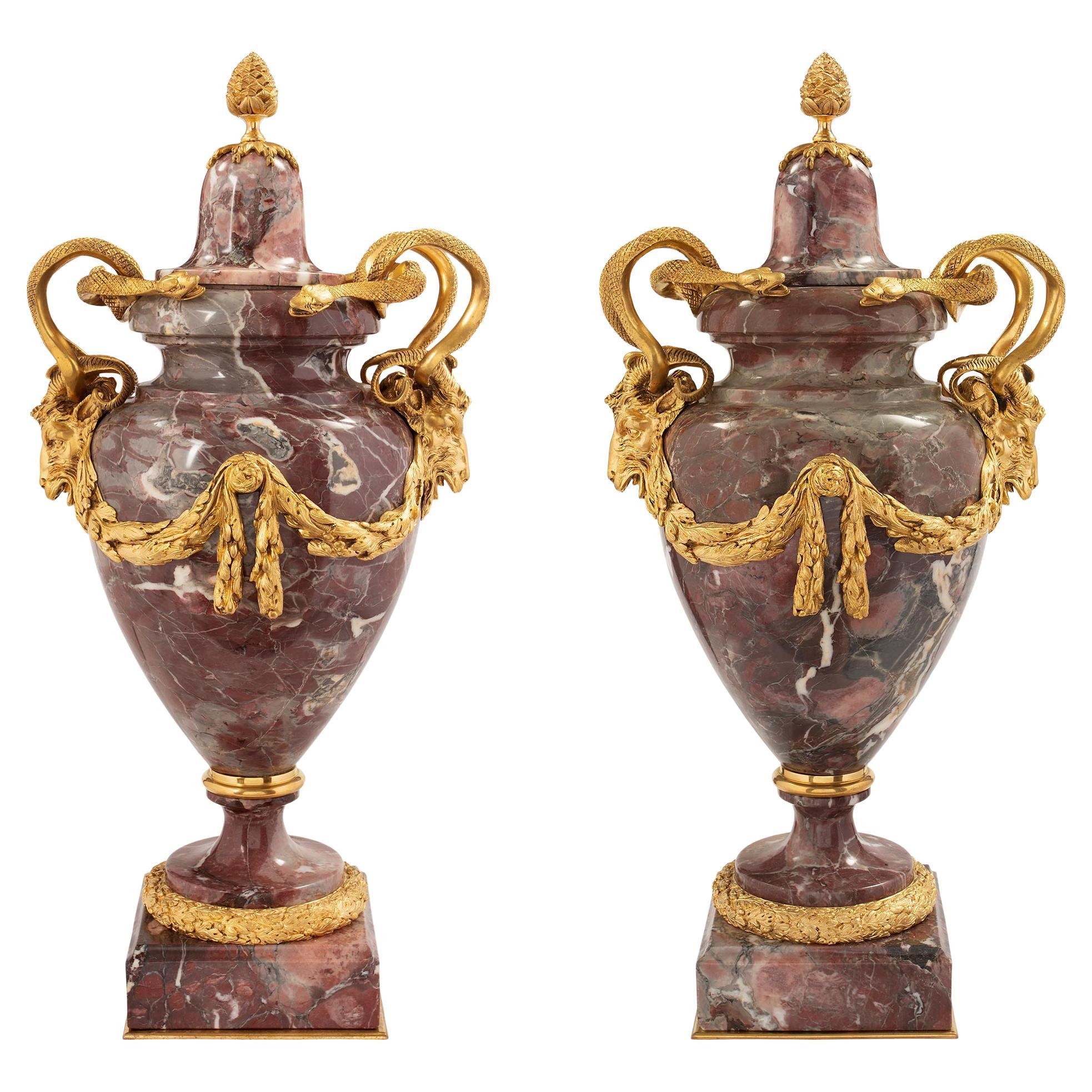 Pair of French Mid-19th Century Louis XVI Style Marble and Ormolu Lidded Urns
