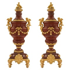 Pair of French Mid-19th Century Louis XVI Style Marble and Ormolu Urns