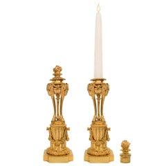 Pair of French Mid-19th Century Louis XVI Style Ormolu Candlesticks
