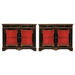 Pair of French Mid-19th Century Napoleon III Cabinet Vitrines