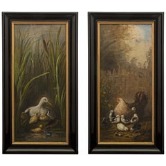 Pair of French Mid-19th Century Napoleon III Period Oil on Canvas