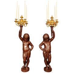 Pair of French Mid-19th Century Patinated Bronze and Ormolu Candelabras