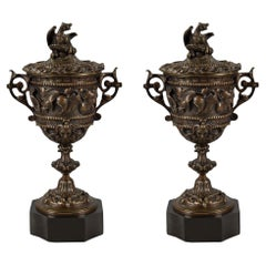 Pair of French Mid-19th Century Renaissance Style Patinated Bronze Lidded Urns