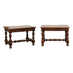 Pair of French Mid-19th Century Walnut Tables with Drawers and Turned Base