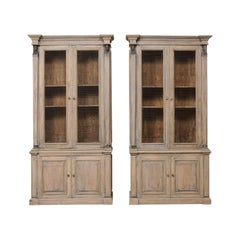 Pair of French Mid-20th Century Tall Painted Wood Neoclassical Style Cabinets