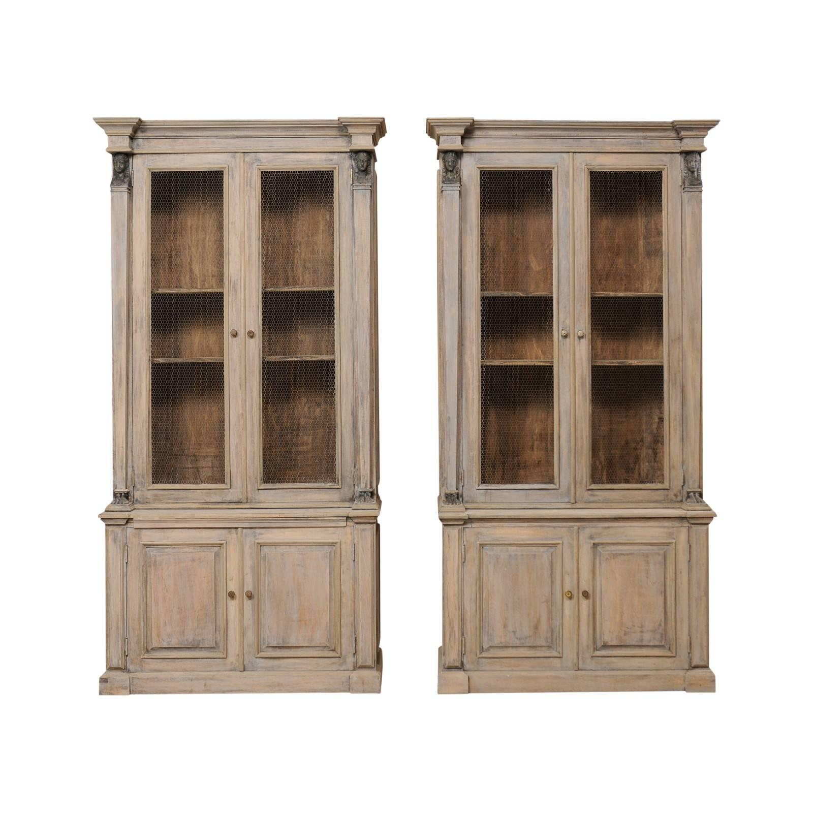 Incroyable Pair Of French Mid 20th Century Tall Painted Wood Neoclassical Style  Cabinets For Sale