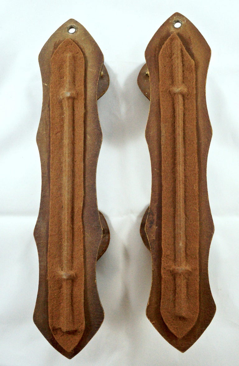 Pair of French Mid Brown Leather and Brass Deer Design Gun Racks For Sale 1
