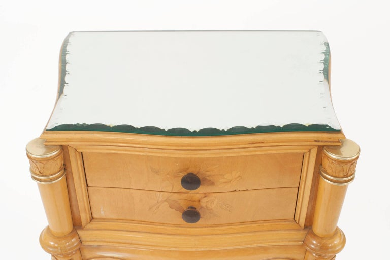 Pair of French 1950s Maple Bedside / End Tables In Good Condition For Sale In New York, NY