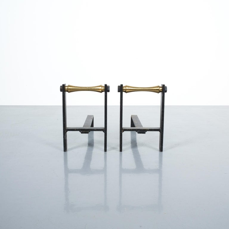 Mid-Century Modern Pair of French Midcentury Andirons from Iron and Brass For Sale