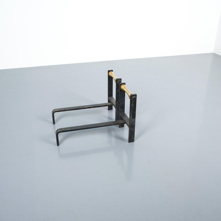 Mid-20th Century Pair of French Midcentury Andirons from Iron and Brass For Sale